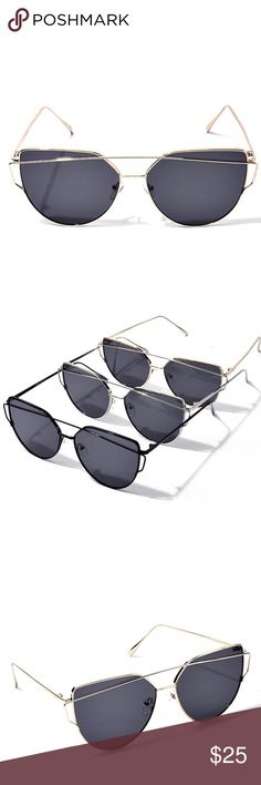 """-NEW ARRIVAL- One for the Books Sunglasses (Gold) The One for the Books Sunglasses are definitely memorable! Available in Black, Silver and Gold. Silver and Black are in a different listing  Measurements are approx 5.7"""" from metal corner to corner with each flat lens approx. 2.3"""" likeNarly Accessories Sunglasses"""