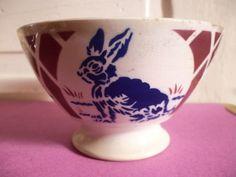 ¤ Lunéville Keller & Guérin KG Grand bol décor motif au lapin