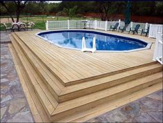 Swimming pool, Beautiful Over Groung Home Pool In Small Size Decorated With Great Wooden Decks And White Railing: Creative Ideas of Above gr...