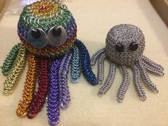 Mummy and baby octopus family chainmaille animal collection