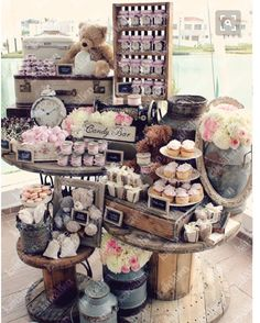 25 Best Sweet Dessert Table Ideas For Your Party Attempt to have a few of exactly the same pieces so it is possible to use it in order to balance your table out and have some consistency. Candy Table, Candy Buffet, Dessert Buffet, Dessert Bars, Dessert Tables, Bar A Bonbon, Deco Champetre, Sweet Bar, Craft Show Displays