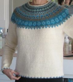 Ravelry: The Blue Shimmer Yoke Pullover POC pattern by Anna-Lisa Mannheimer Lunn Fair Isle Knitting Patterns, Knitting Designs, Knit Patterns, Knitting Yarn, Hand Knitting, Knit Crochet, Sweaters, Jumpers, Ravelry