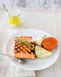 Grilled Salmon with Roasted Fennel and Tomatoes