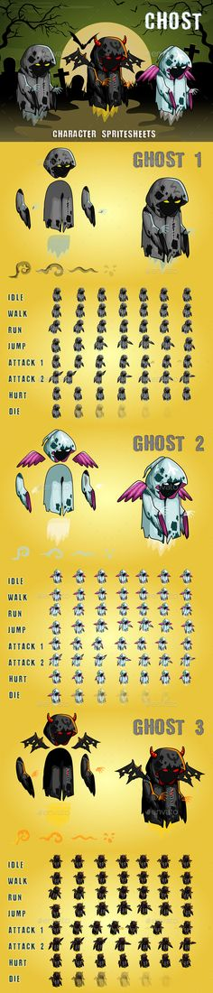 Ghosts 2D Game Character Sprite Sheet - Sprites #Game #Assets Download here: https://graphicriver.net/item/ghosts-2d-game-character-sprite-sheet/20082064?ref=alena994