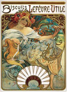 Alphonse Mucha - Biscuits Lefevre-Utile, 1897. Colour lithograph