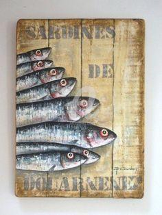 SARDINES DE DOUARNENEZ - Peinture,  40x70 cm ©2011 par Philippe Coeurdevey -