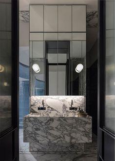 Australian Interior Design Awards - A Private Park by SJB Australian Interior Design, Interior Design Awards, Bathroom Interior Design, Grey Marble Bathroom, Modern Bathroom, Marble Bathrooms, Bathroom Ideas, Bathroom Designs, Narrow Bathroom