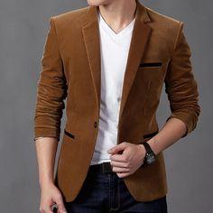 2017 mens blazer brand clothing casual suit Slim Jacket Single Button corduroy blazer men dress suits Terno Masculino plus size Mens Fashion Blazer, New Mens Fashion, Suit Fashion, Men Blazer, Color Fashion, Trendy Fashion, Vogue Fashion, Fashion Rings, Blazer Jacket
