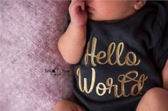Hello World Bodysuit Coming Home Outfit by charleyjoscreations5