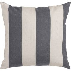 Grey and White Striped Beach Pillow
