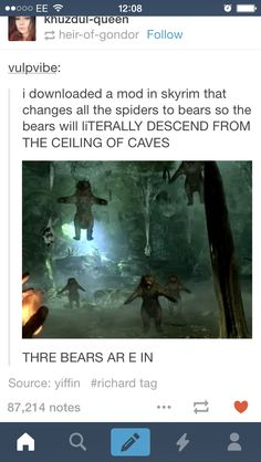 This is just as scary as the Thomas the tank engine mod. <-- In Australia we call these drop bears lol <-- Of course you have those in Australia Elder Scrolls Games, Elder Scrolls Skyrim, Gamer Humor, Gaming Memes, Video Game Memes, Video Games, Arrow To The Knee, Skyrim Funny, Skyrim Mods