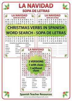 Word Search with Christmas Verbs in Spanish. Sopa de Letras – Verbos relacionados con la Navidad en español.