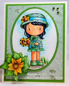 Copic card using the C.C. Designs - Swiss Pixies Sunflower Lula stamp.  Made by Marie