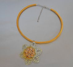 Yellow Choker Necklace Crochet NecklaceYellow by IrmasCrochetStore.Etsy.com