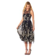Women's Indication Floral Lace Illusion Fit & Flare Dress, Size: