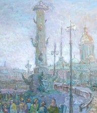 Из серии «Белые ночи Санкт-Петербурга». Ростральная колонна. 2003г. Бумага, гуашь. 68х61