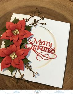 Katelyn here, sharing with you my Merry Christmas Card. The inspiration came from ModaScrap's Christmas Flower die. With that element of my card figured out, I added more… Christmas Card Messages, Unique Christmas Cards, Christmas Card Images, Christmas Note, Merry Christmas Quotes, Merry Christmas Greetings, Personalised Christmas Cards, Christmas Card Crafts, Homemade Christmas Cards