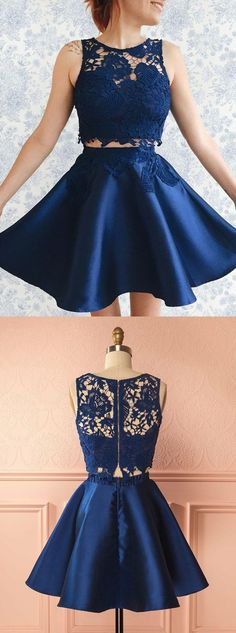 Two Piece Bateau Short Dark Blue Satin Homecoming Dress with Lace Appliques