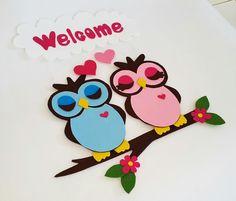 #handmade #felt #door or #wall #hanging #owls for #home #interior