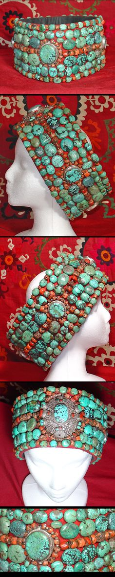 This antique, late 19th century crown from Tibet is adorned with rare green Tibetan Turquoise & Corals. The Turquoise and Coral beads on this crown are extremely rare and unique Tibetan antique pieces like this are hard to find. The crown is in excellent condition with no missing stones or damages of any kind.