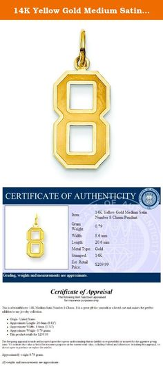 """14K Yellow Gold Medium Satin Number 8 Charm Pendant. This is a beautiful new 14K Medium Satin Number 8 Charm. It is a great gift for yourself or a loved one and makes the perfect addition to any jewelry collection. Origin- United States Approximate Length- 20mm (0.79"""") Approximate Width- 8mm (0.31"""") Approximately weighs 0.79 grams. 2015."""