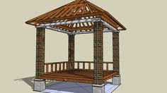 Gazebo 3x3 Tiang Bata - 3D Warehouse