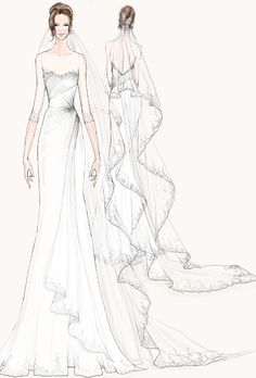 Wedding dress sketch for Angelina Jolie | Watters | brides.com