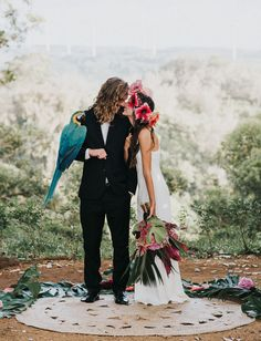Boho Hawaii Inspiration with hibiscus floral crown + macaw