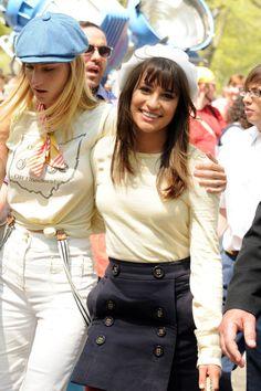 "Lea Michele in Lea Michele and Heather Morris Film ""Glee"" Scenes in Central Park"