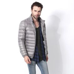 Zichhing Men White Duck Down Long Keep Warm Coat Casual Thick Down Overcoat Jackets