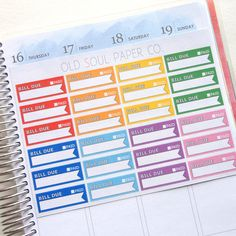 Rainbow Bill Due Planner Stickers  Erin Condren Life Planner