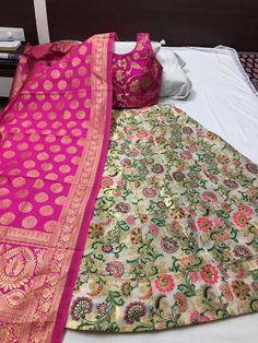 Indian style party wear lahenga choli Bollywood Style Lahenga choli banarasi weaving lahenga choli with ready-made blouse by AlishafashionStudio on Etsy Brocade Lehenga, Banarasi Lehenga, Ghagra Choli, Silk Dupatta, Sabyasachi, Brocade Dresses, Chiffon Saree, Anarkali Dress, Anarkali Suits