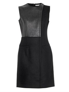 Céline Leather and wool dress