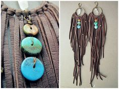 Long Leather Earrings Big Fringe Earrings Extra Long by Chrysalism- Make them yourself...