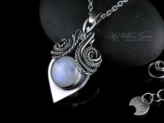 Elven Luxury Sterling Silver Rainbow Moonstone Necklace - silversmith, wire woven, wire wrapped - Lunathiel, the Moon Elf - Elven Jewelry by MyWillowGems
