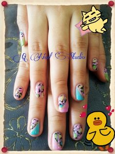 Colorful leaopard gel nail design
