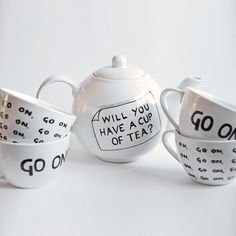 Mrs Doyle & Father Ted Go On Inspired Tea Set Teapot by OwlandBrew, Bakehouse Studio Food Photographers - favourtie photos from around the web! Father Ted, Tea Art, High Tea, Afternoon Tea, Cup And Saucer, Tea Time, Brewing, Tea Cups, Mugs