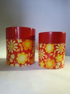 Vintage Red / Yellow / Orange Flower Power