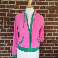 New with tags lilly Pulitzer zip up hoodie Super cute old school Lilly Pulitzer pink & green zip up hoodie with tags still on it! 80% cotton, 16% nylon, 4% spandex- this is stretchy & comfy! there are a few little frays in fabric (seen in picture). Great deal for Lilly! Price negotiable  #lillypulitzer #lilly #lillyhoodie #nwt #newwithtags #newlilly #zipup Lilly Pulitzer Jackets & Coats
