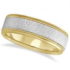 Nice Mens Diamond Cut Carved Wedding Ring Stone Finish k Two Tone Gold mm