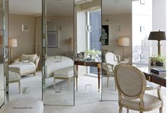 Concertina Mirror design ideas and photos to inspire your next home decor project or remodel. Check out Concertina Mirror photo galleries full of ideas for your home, apartment or office. Mirror Closet Doors, Mirror Door, Mirror Glue, Decorative Screens, White Mirror, Bedroom Photos, Dream Closets, Dining Chairs, Interior Design
