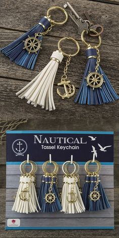 Tassel Key Chains With Anchor Or Ship's Wheel Charm Set Of 16 Personalized Gifts And Party Favors Diy Keychain, Tassel Keychain, Leather Tassel, Leather Jewelry, Polymer Clay Earrings, Jewelry Crafts, Personalized Gifts, Tassels, Key Chains