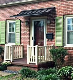 The Concave Style Door Awning in Black Metal with the Smith Scroll Design Metal Awnings For Windows, Outdoor Window Awnings, House Awnings, Aluminum Awnings, Outdoor Doors, Front Door Awning, Door Overhang, Porch Awning, Black Exterior Doors