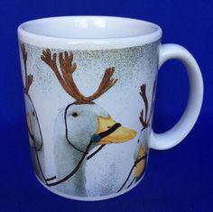 WILL BULLAS Mug Geese With Reindeer Antlers Christmas Tea Coffee Cup Goose