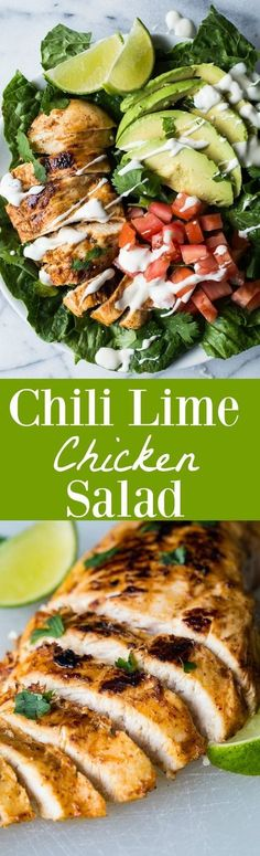 This tender, juicy, zesty chili lime chicken is perfect for topping your salad! This easy recipe takes just minutes to prepare! Perfect for a weeknight dinner! #pastafoodrecipes