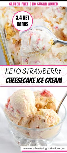 Cheesecake Ice Cream, Low Carb Cheesecake, Strawberry Cheesecake, Low Carb Cupcakes, Low Carb Desserts, Low Carb Recipes, Ketogenic Desserts, Keto Snacks, Ketogenic Diet