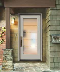 Front door: Double Crosslines height (Door only) Exterior Doors With Glass, Entry Doors With Glass, Front Doors With Windows, Double Front Doors, Glass Front Door, Front Door Decor, Sliding Glass Door, Frosted Glass Design, Frosted Glass Door