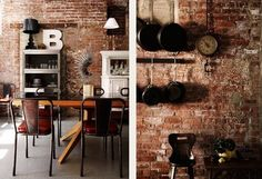 Exposed brick, rustic, yet as a feature wall = great for shabby sheek/country.