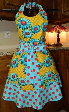 Mimi's Turquoise Yellow and Red Apron by Mimismagicapron on Etsy, $35.00