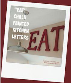 EAT chalk painted kitchen sign - #decoartprojects #chalkyfinish
